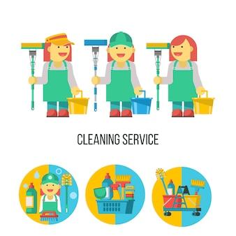 청소 서비스. 걸레를 든 세 명의 전문 메이드. 플라스틱 바구니에 있는 청소 제품 세트.