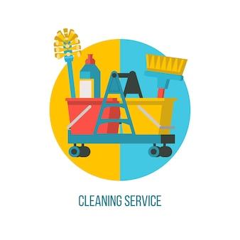 청소 서비스. 청소 용품이 있는 트롤리.