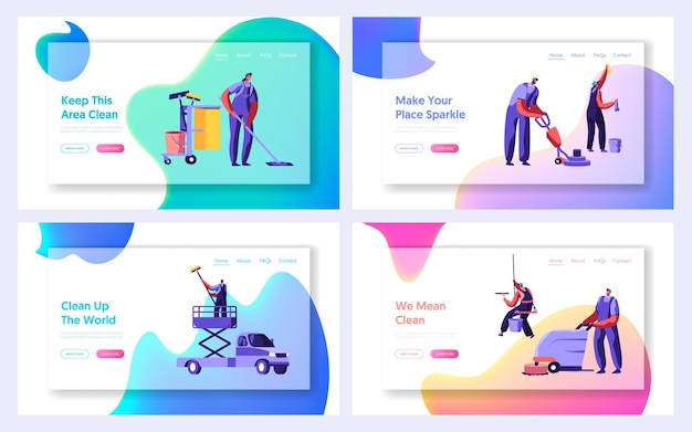 Cleaning service website landing page templates set.