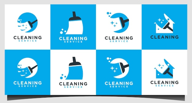 Cleaning service with broom logo design vector
