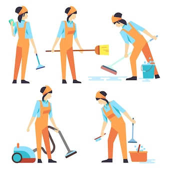 Cleaning service woman staff