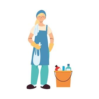 Уборщица с перчатками и чистящей посудой