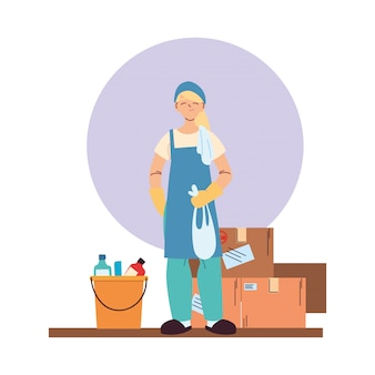 장갑, 청소 용품 및 상자 청소 서비스 여자