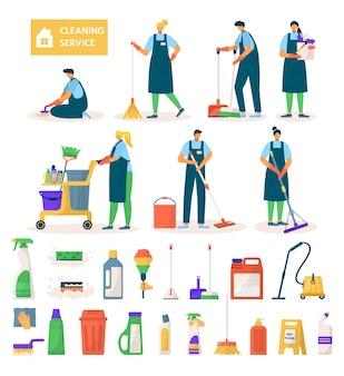 清掃サービスワーカーのキャラクター、機器、イラストのツールセット。職場、モップ、掃除機の床、バケツ、スポンジ、清潔な洗剤でのプロ用クリーナー。