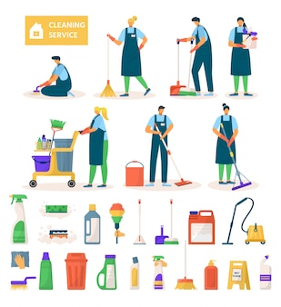 Cleaning service workers characters, equipment and tools set of    illustration. professional cleaners at work, mopping, vacuuming floor, buckets, sponge and clean detergents.