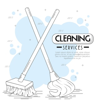 Cleaning services emblems and logos