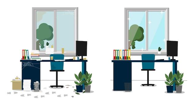Клининговые услуги. офис до и после уборки, чистая и грязная комната.