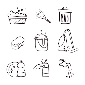 Cleaning a set of icon. hand draw