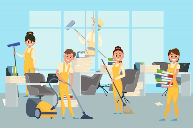Cleaning staff team in office illustration