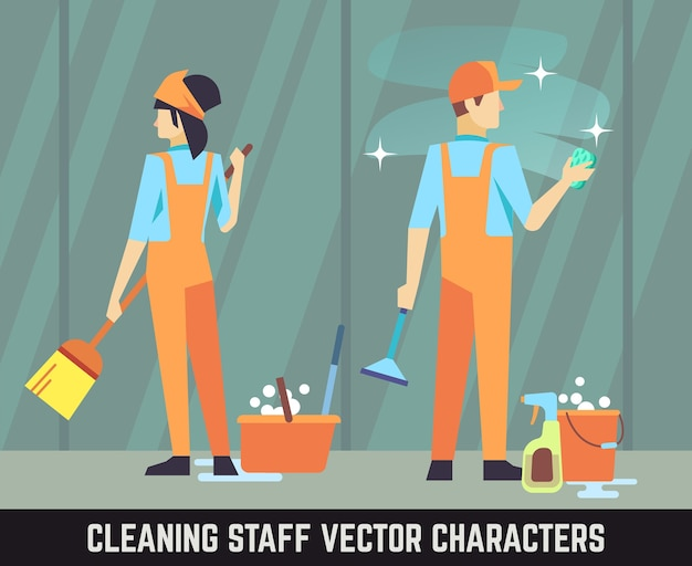 Cleaning staff vector characters woman and man