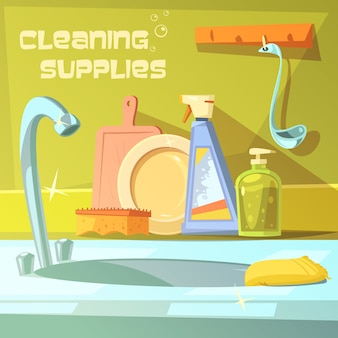 Cleaning supplies cartoon background
