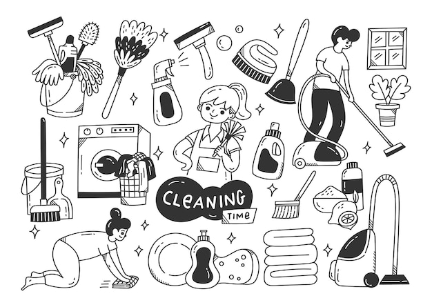 Cleaning supplies doodle isolated