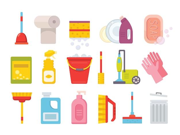 Чистящие средства. домашние чистые инструменты. щетка, ведро оконные салфетки и химический инструмент изолированный набор