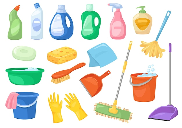 Cleaning supplies household products set