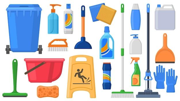 クリーニング用品、工具、家庭用化学薬品、クリーニングソリューション。家庭用洗剤、ゴミ箱、モップ、手袋、バケツのベクトルイラストセット。家庭用機器のハウスクリーニング用品