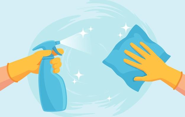 청소 표면. 장갑을 끼고 손을 스프레이로 닦고 닦습니다. 바이러스와 박테리아로부터 집을 소독합니다. 코로나바이러스 예방 벡터 개념입니다. 항균 살포, 바이러스 확산 방지