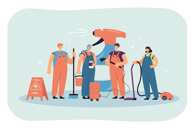 Cleaning team standing next to huge bottle of detergent. cleaning staff in uniform with vacuum cleaner, mop, broom flat illustration