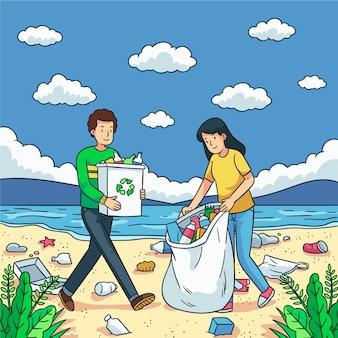 Очистка пляжа благотворительная социальная концепция