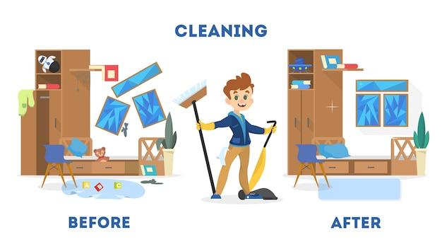 Уборка концепции дома. до и после вид на комнату. мальчик с метлой и пылесосом. отдельные векторные иллюстрации в мультяшном стиле