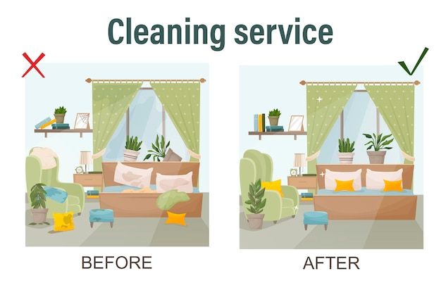 Уборка дома концепции до и после просмотра на шаблоне комнаты для услуг по уборке, изолированные векторные иллюстрации в мультяшном стиле векторные иллюстрации