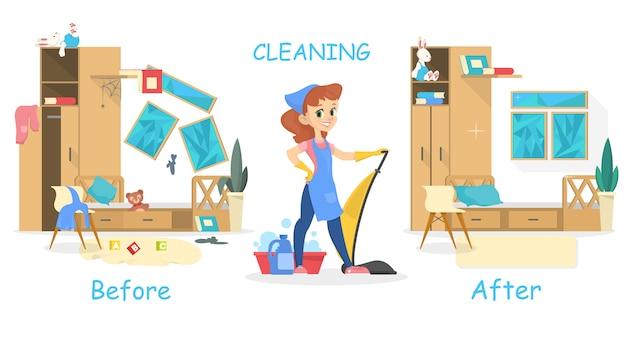 Уборка концепции дома. до и после вид на комнату. женщина с пылесосом. иллюстрация в мультяшном стиле