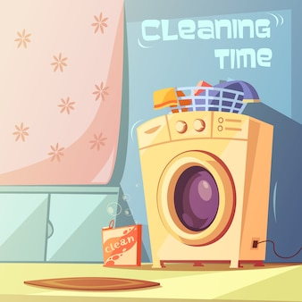 Cleaning time cartoon background