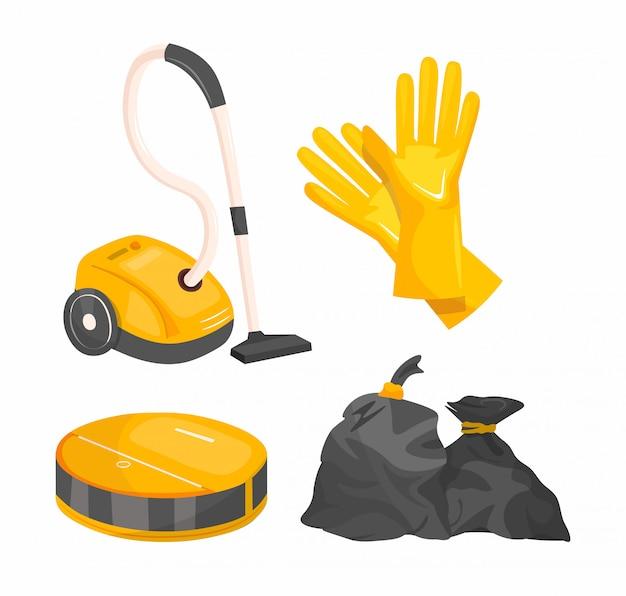 청소 도구는 만화를 설정합니다. 가정용 청소 용품 세트. 프리미엄 벡터