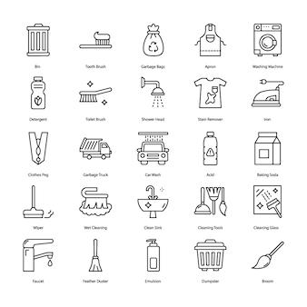 Cleaning tools solid vectors