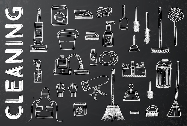 Cleaning tools. vector illustration. cleaning service. cleaning supplies on black chalkboard. hand drawn cleaning products.