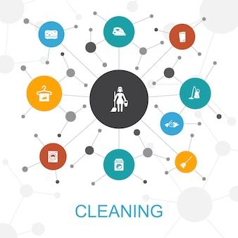 アイコンで流行のウェブコンセプトを掃除する。ほうき、ゴミ箱、スポンジ、ドライクリーニングなどのアイコンが含まれています