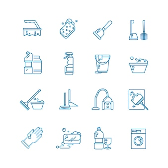 Cleaning and washing house outline icons.