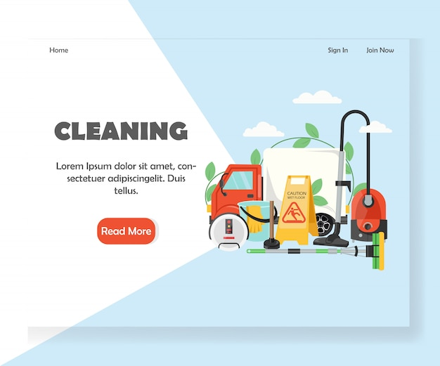 Cleaning website landing page template