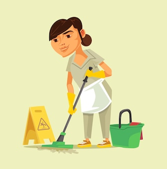 Cleaning woman staff worker character.   illustration