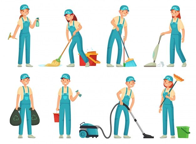 Cleaning workers. professional cleaning staff, domestic cleaner worker and cleaners equipment. home clean cartoon set
