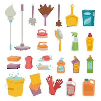 Cleanser bottle chemical housework product and plastic box care wash equipment vector icons