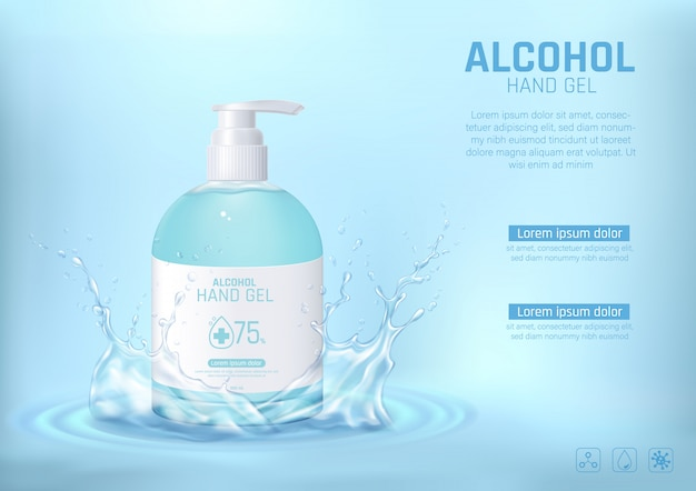 Cleansing hand wash alcohol gel with water splash