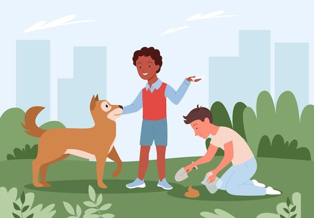 개 소년과 젊은 남자 애완 동물 소유자 캐릭터 비닐 봉지를 들고 청소 후 똥 깨끗한 똥