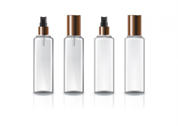 구리 스프레이 헤드와 뚜껑이있는 투명하고 흰색 사각형 화장품 병