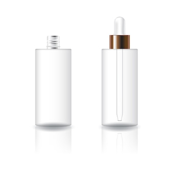 Clear cosmetic cylinder bottle with white dropper lid.