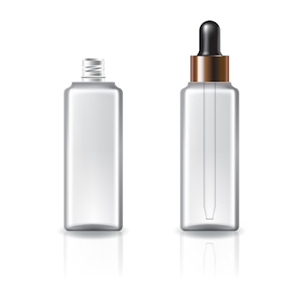 Clear cosmetic square bottle