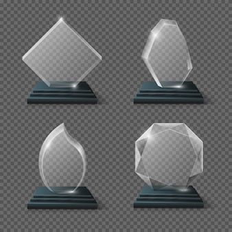 Clear glass award certificates, goals team crystal trophies stock. glossy panel award prize