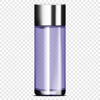 Прозрачная стеклянная бутылка с металлической крышкой на прозрачном фоне реалистичный векторный макет косметический продукт