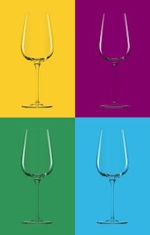 ベクトルの4つの背景に透明なガラス