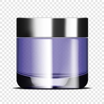 Прозрачная стеклянная круглая банка с кремом для лица на прозрачном фоне реалистичный векторный макет
