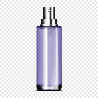 Clear glass spray bottle on transparent background vector mockup cosmetic product packaging