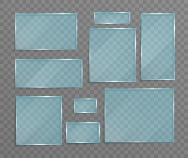 グレアと光のある透明なガラスの質感