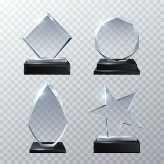 Clear glass trophy awards isolated on transparent set. glossy board and clear panel trophy illustration