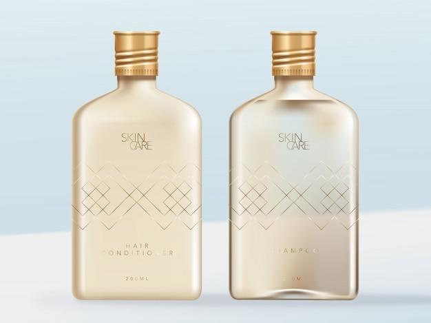 透明または透明なアルコール、スキンケアまたは美容ガラスボトルのイラスト。シャンプー&コンディショナー、不透明&クリア配合。