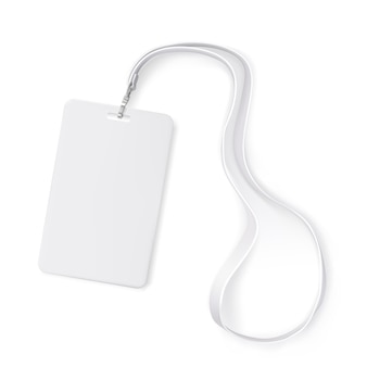 Clear plastic badge id card with white neck lanyard. realistic