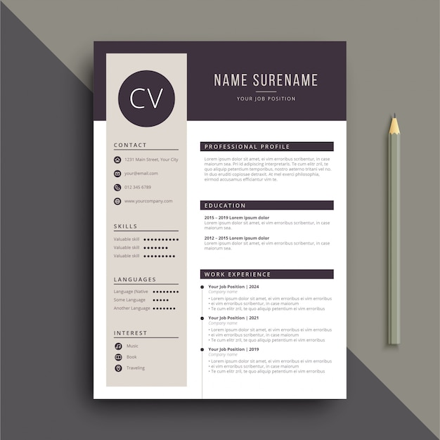 Clear and professional resume cv template